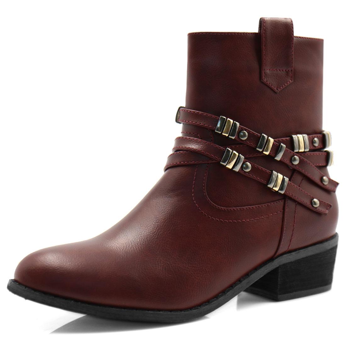 Women Block Heel Studded Straps Zipper Ankle Boots Burgundy US 6