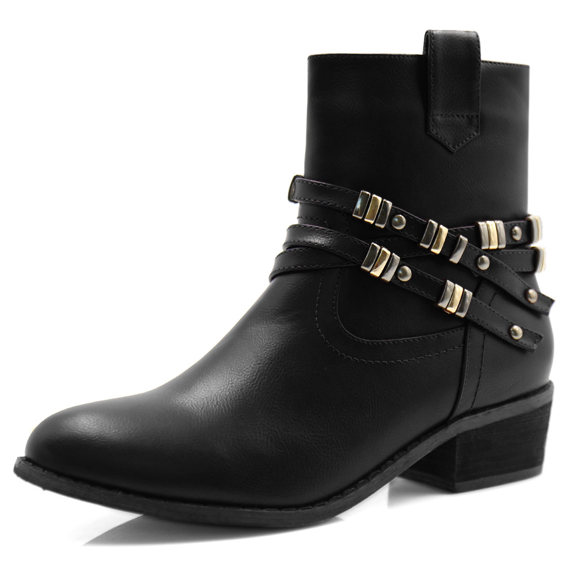 Women Block Heel Studded Straps Zipper Ankle Boots Black US 8.5