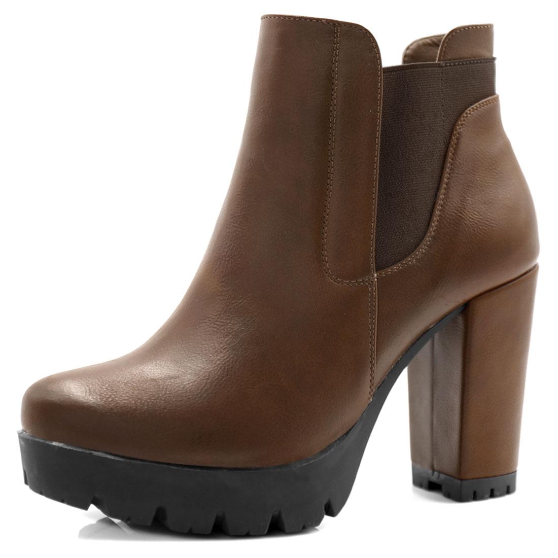 Women Chunky High Heel Platform Zipper Chelsea Boots Brown US 8.5