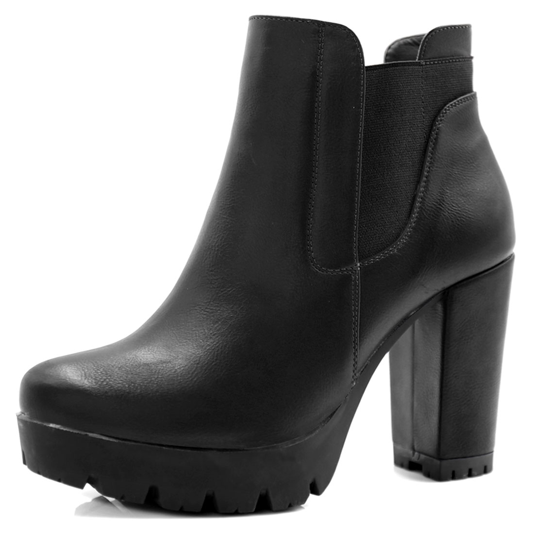 Women Chunky High Heel Platform Zipper Chelsea Boots Black US 6
