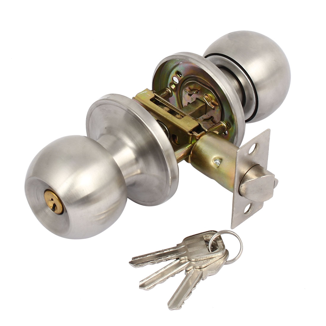 Home Bathroom Metal Round Knob Lock Lockset for 50mm-70mm Thickness Door