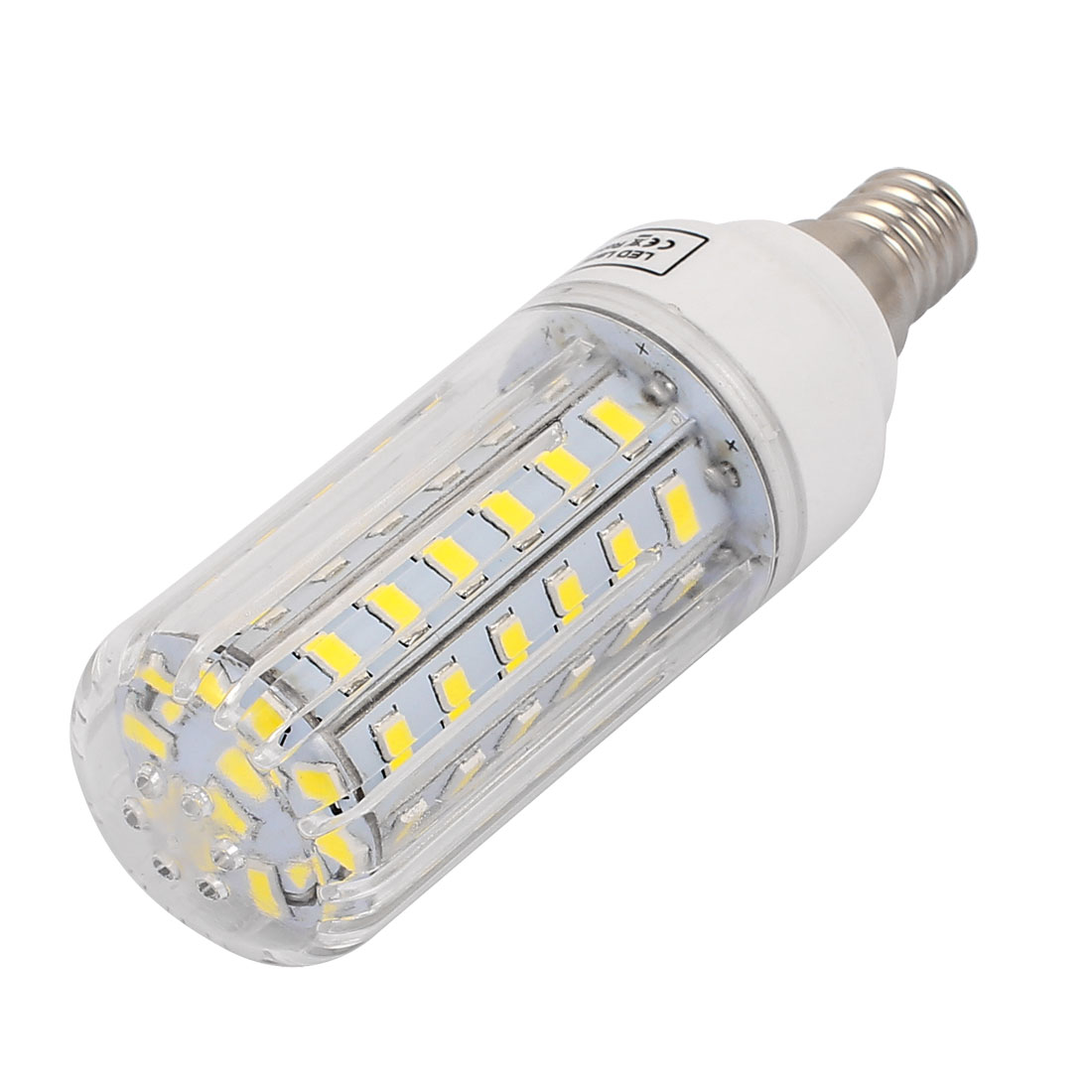 AC 220V E14 7W Pure White 60 LEDs 5733 SMD Energy Saving Silicone Corn Light Bulb