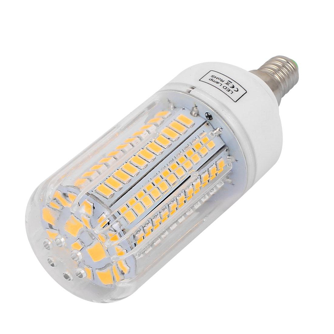 AC 220V E14 15W Warm White 130 LEDs 5733 SMD Energy Saving Silicone Corn Light Bulb