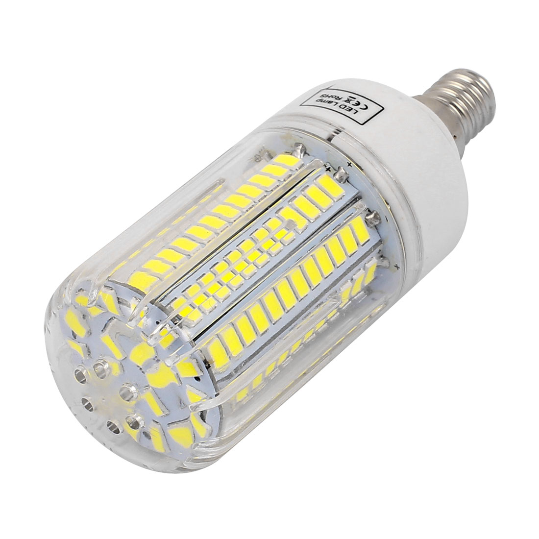 AC 220V E14 12W Pure White 140 LEDs 5736 SMD Energy Saving Silicone Corn Light Bulb
