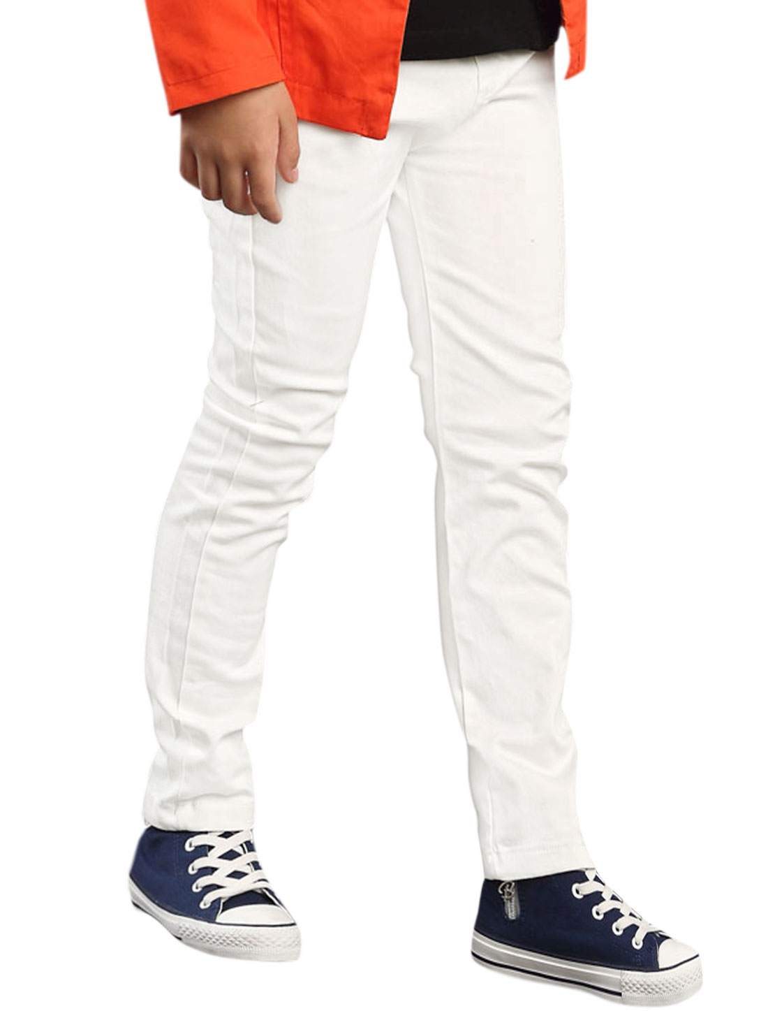 Boys Elastic Waist Side Pockets Straight Leg Pants White 5