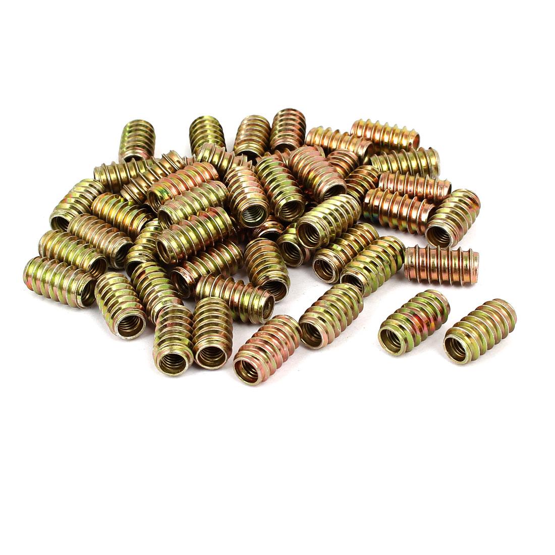 6mm x 20mm Wood Furniture Insert Carbon Steel E-Nut Threaded Nut 50PCS