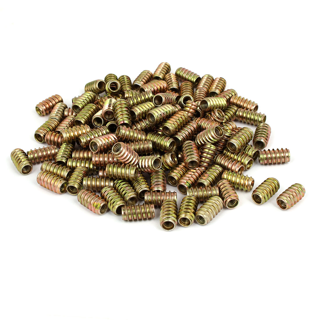6mm x 20mm Yellow Zinc Plated E-Nut Wood Furniture Insert Nut 200PCS
