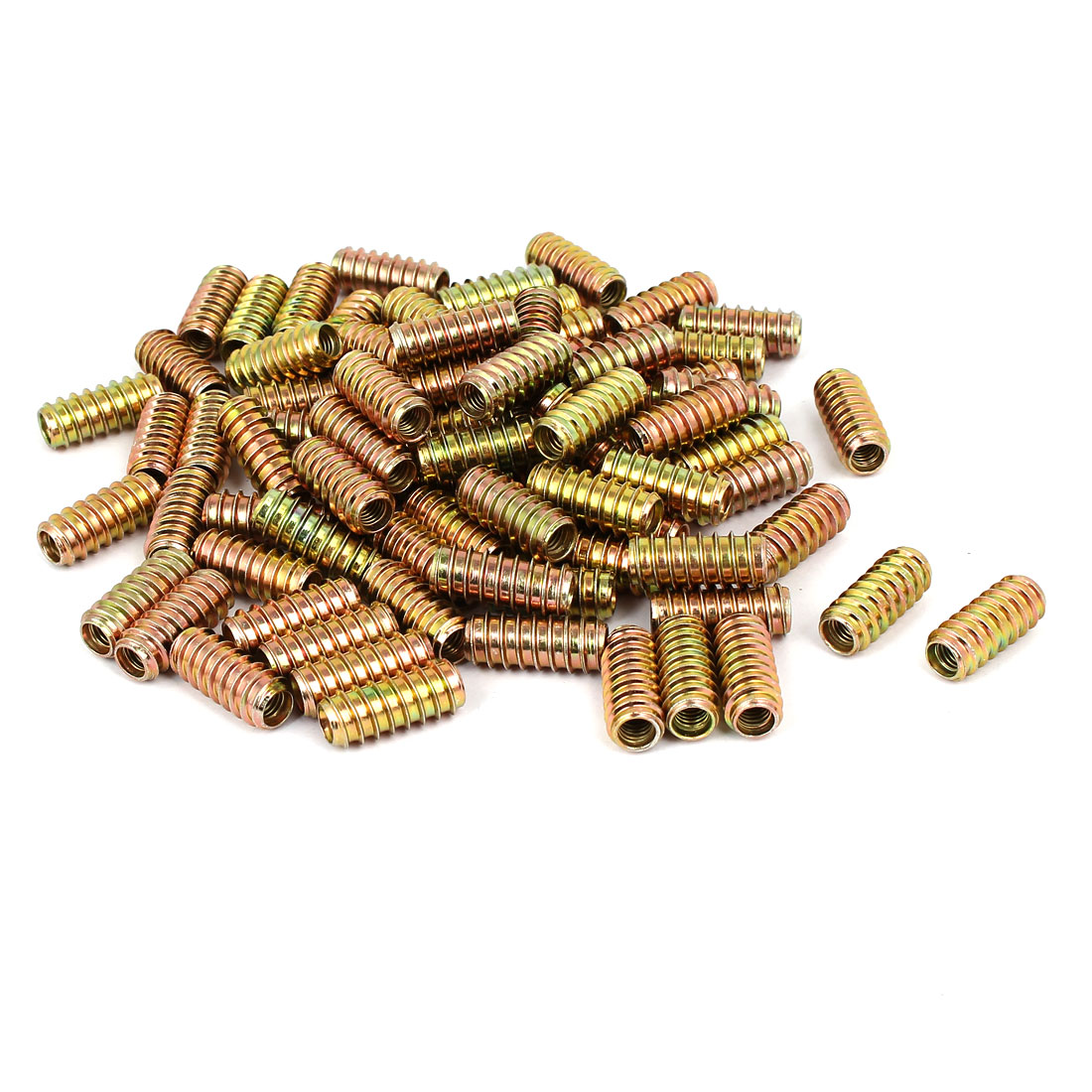6mm x 25mm Yellow Zinc Plated E-Nut Wood Furniture Insert Nut 100PCS