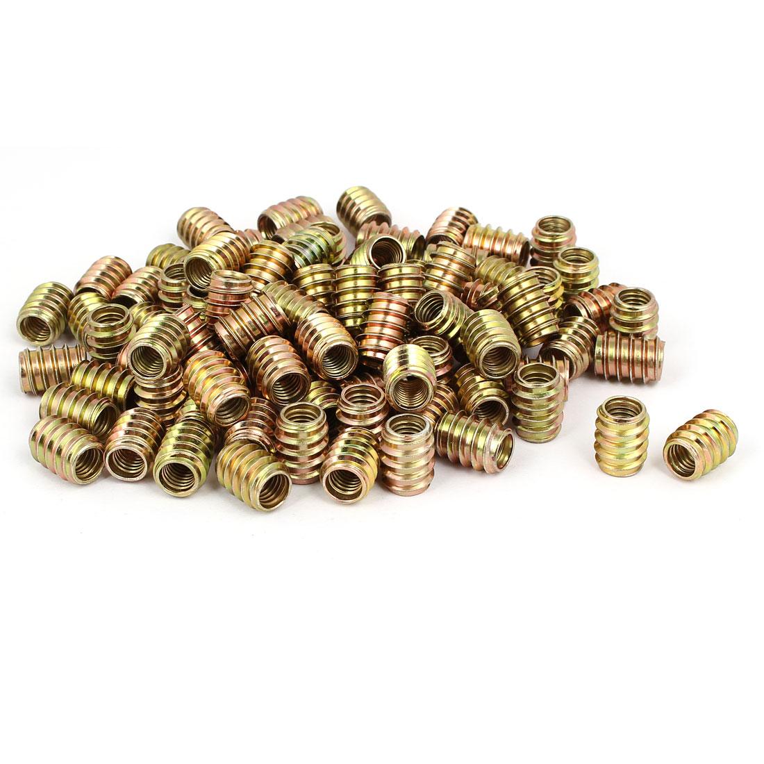 Wood Furniture Insert Screw E-Nut Bronze Tone M8 x 17mm 100pcs