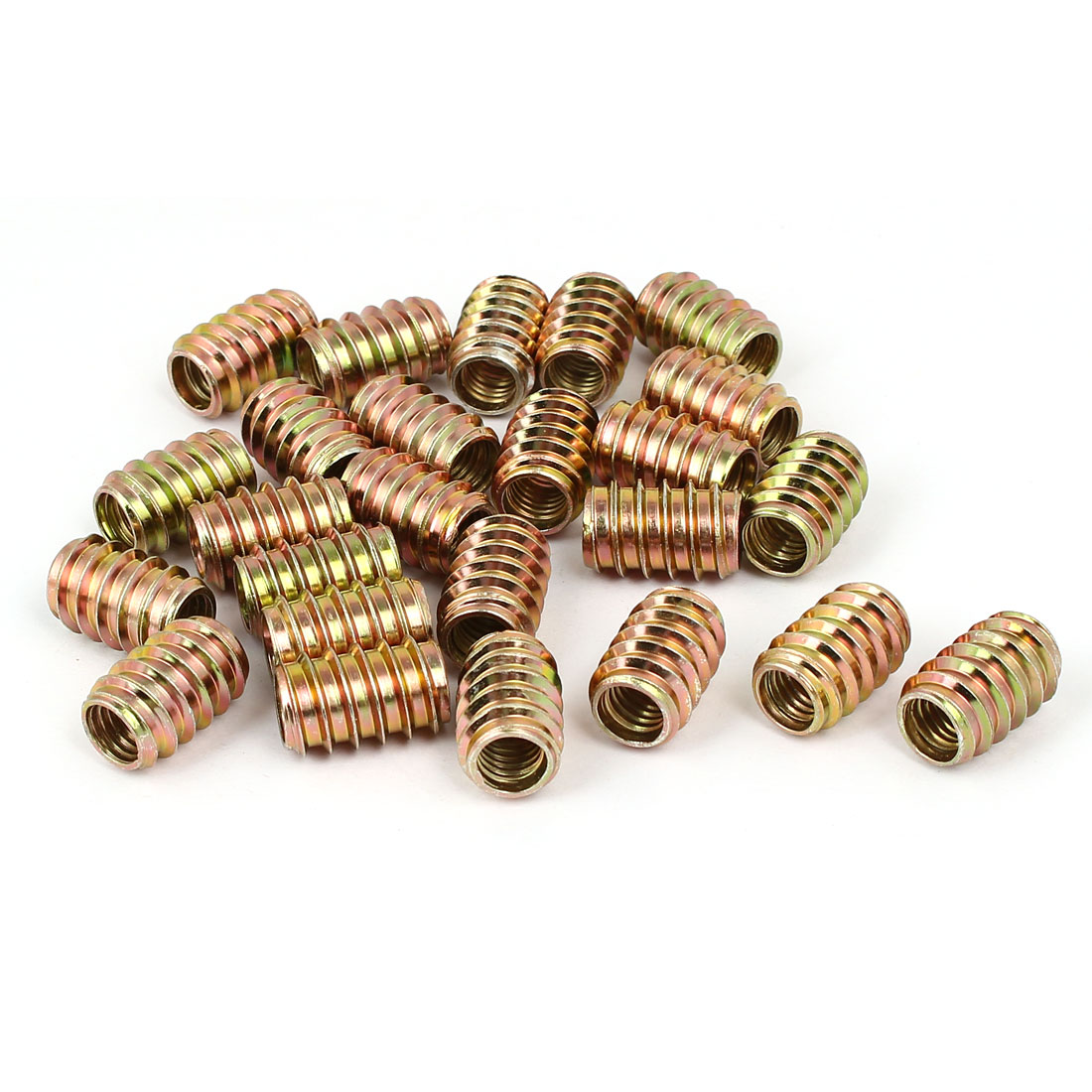 Wood Furniture Insert Fixing Screw E-Nut Bronze Tone M8 x 20mm 25pcs