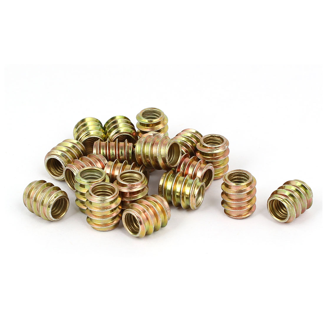 Wood Furniture Insert Fixing Screw E-Nut Bronze Tone M6 x 12mm 20pcs