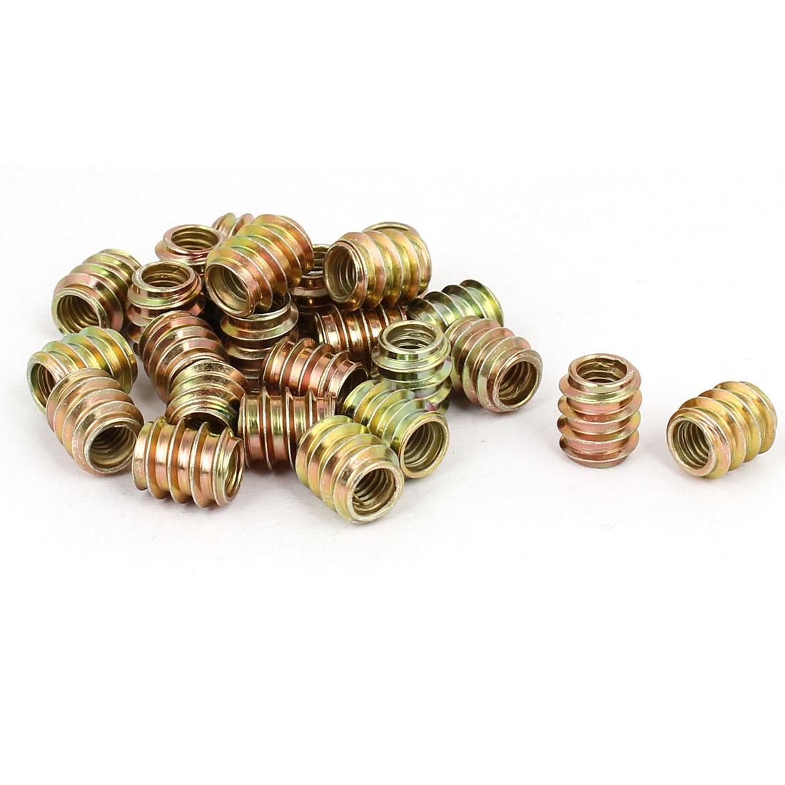 Wood Furniture Insert Fixing Screw E-Nut Bronze Tone M6 x 12mm 25pcs