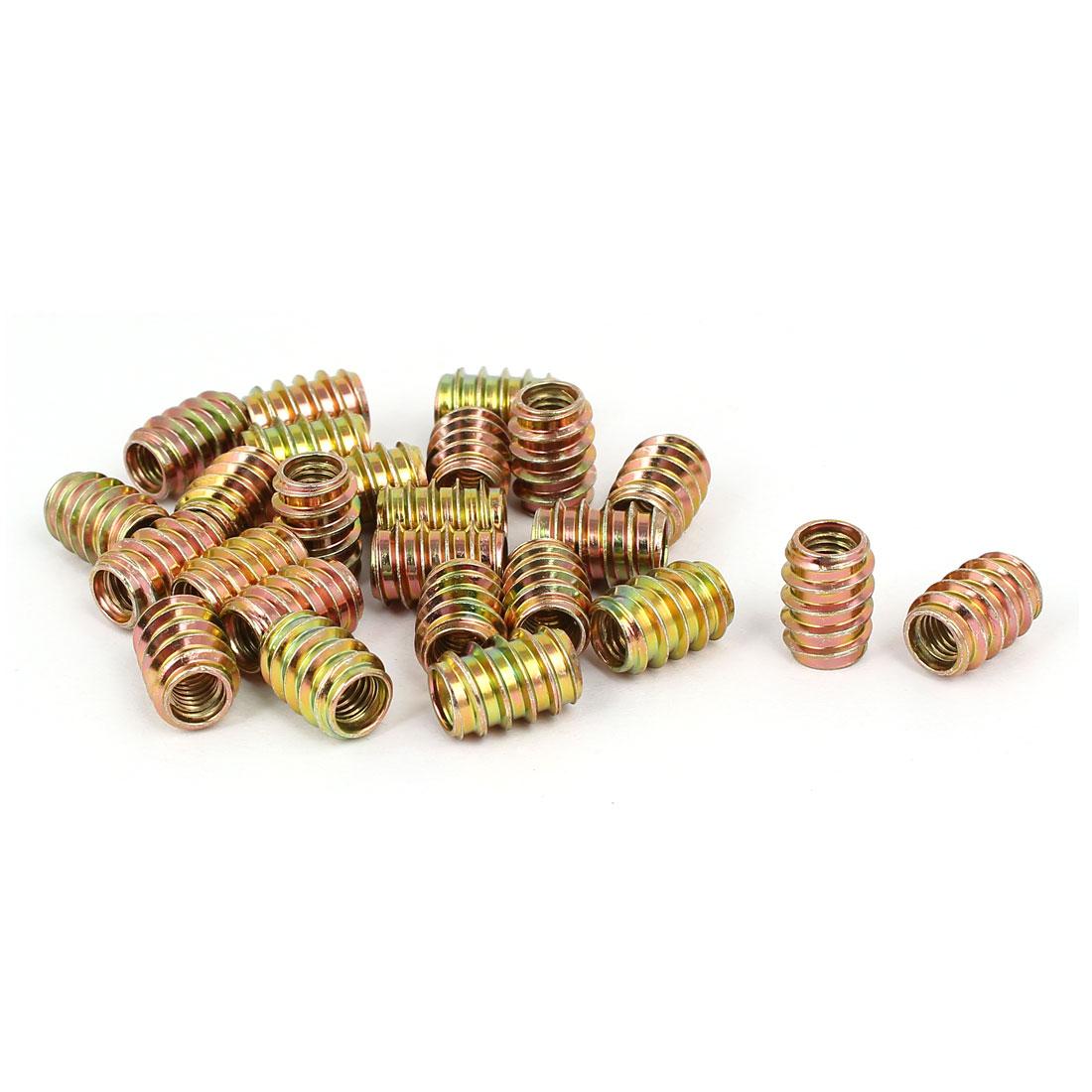 Wood Furniture Insert Fixing Screw E-Nut Bronze Tone M6 x 15mm 25pcs