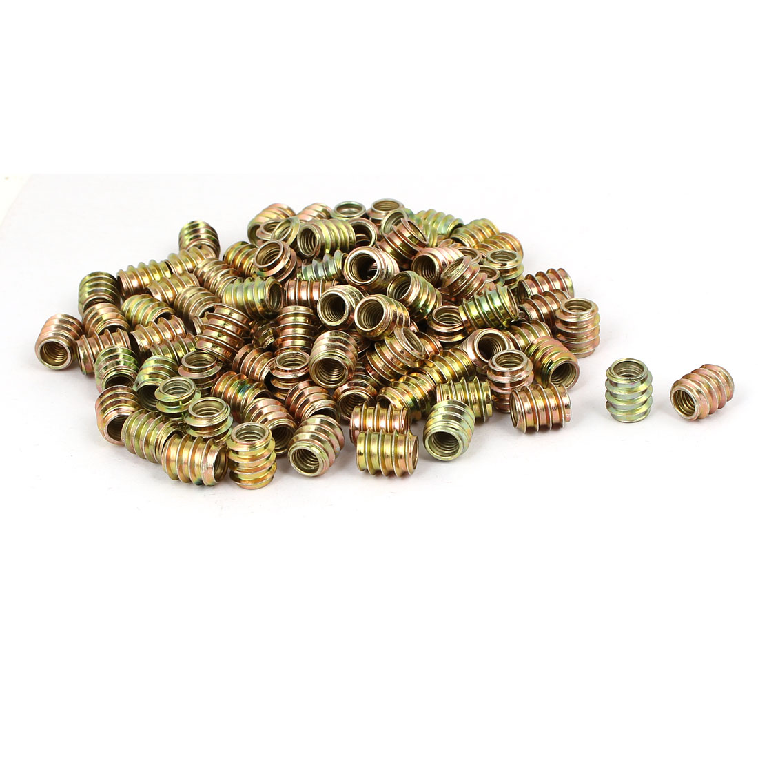 Wood Furniture Insert Fixing Screw E-Nut Bronze Tone M6 x 12mm 100pcs