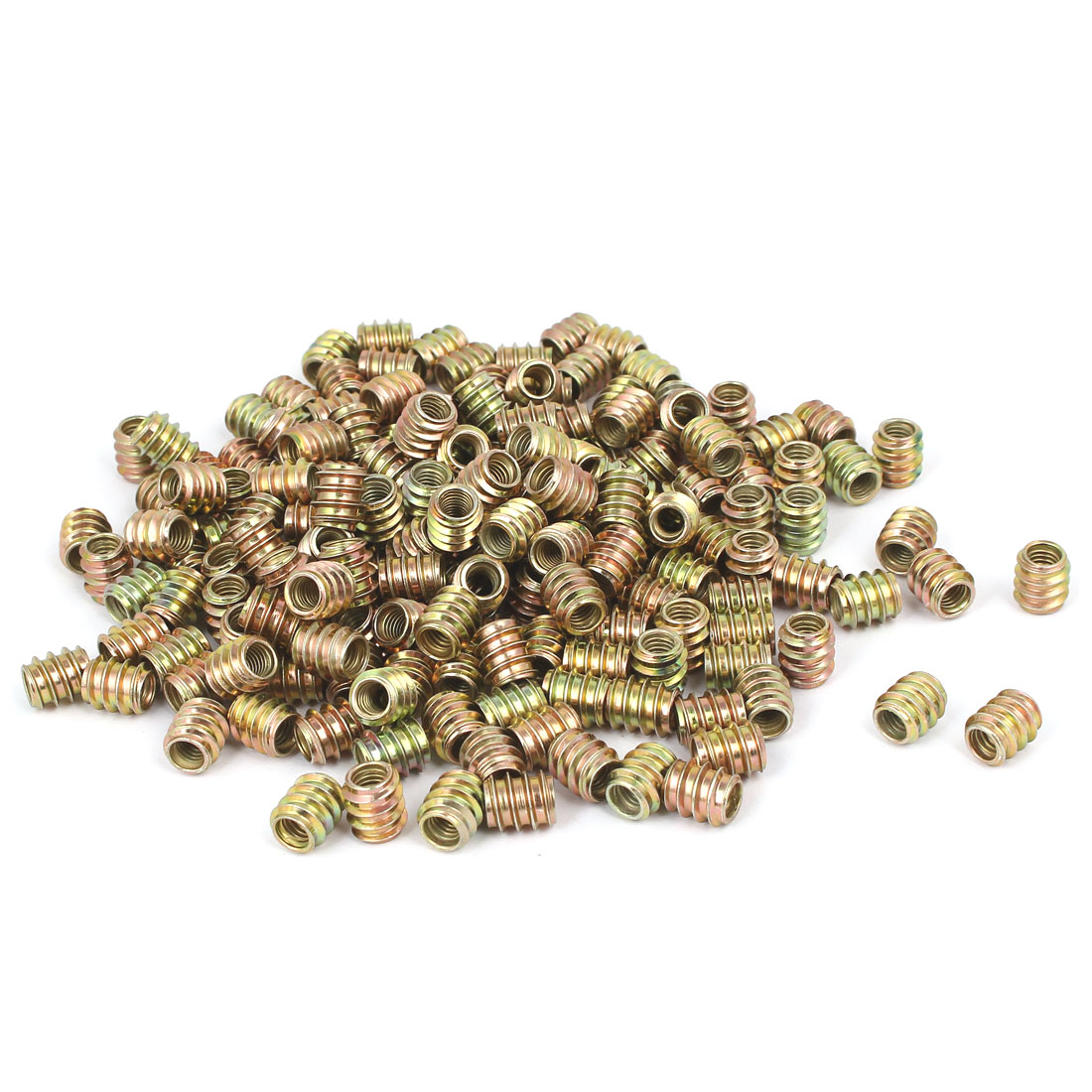 M6x12mm Carbon Steel Yellow Zinc Plated Furniture Threaded Insert Nut 300pcs