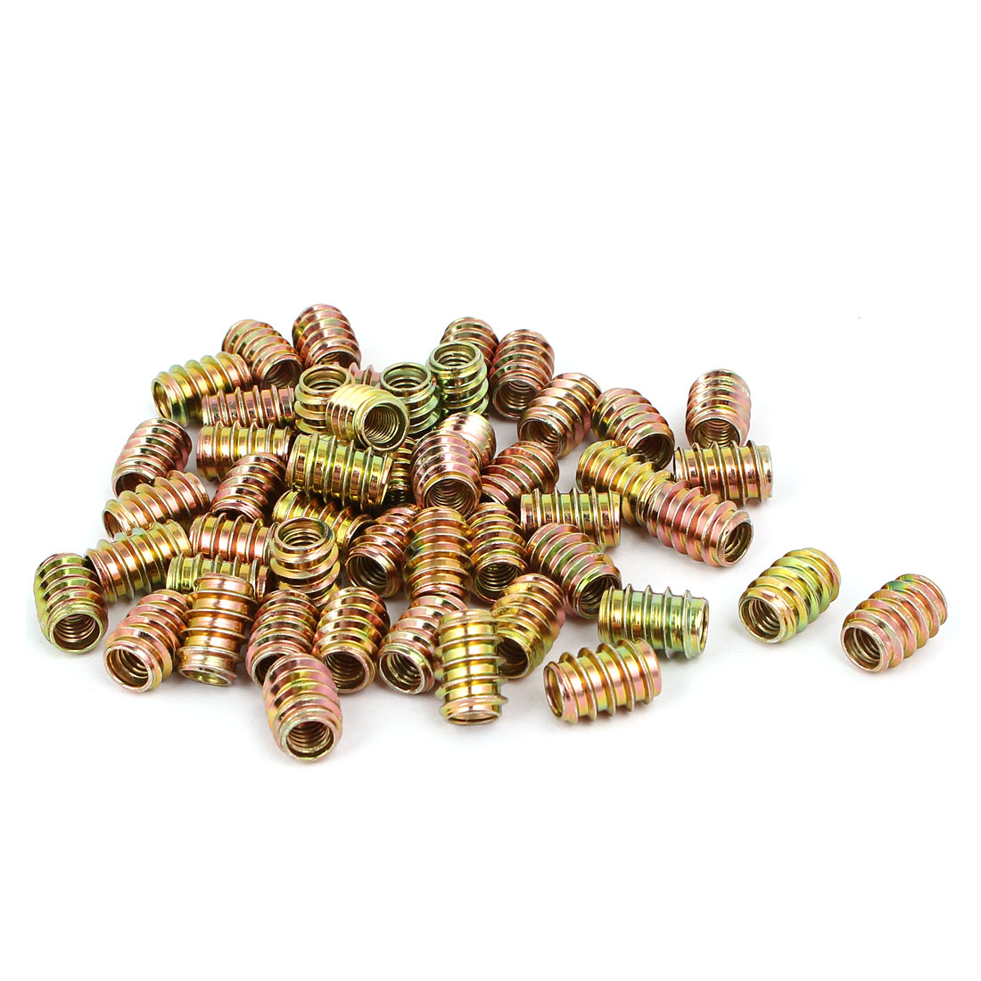 M6x15mm Carbon Steel Yellow Zinc Plated Furniture Threaded Insert Nut 50pcs