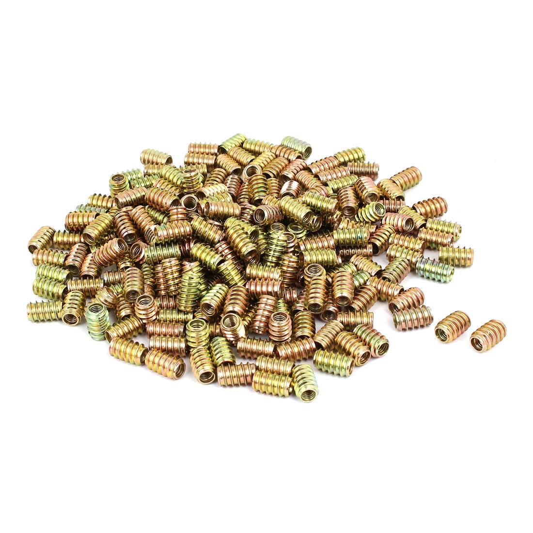 M6x17mm Carbon Steel Yellow Zinc Plated Furniture Threaded Insert Nut 400pcs