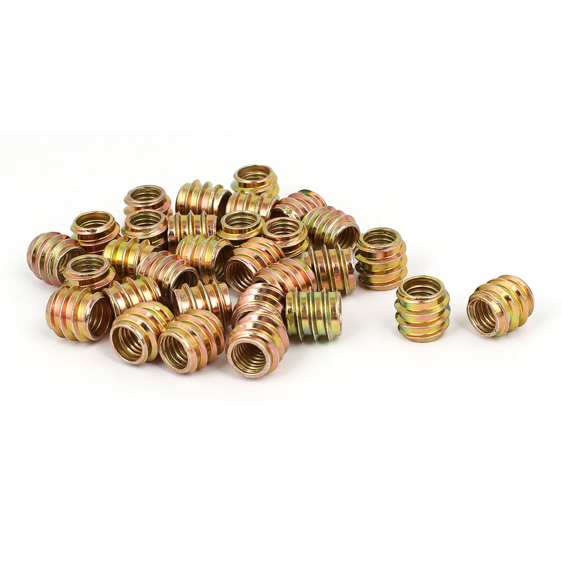 M8x12mm Carbon Steel Yellow Zinc Plated Furniture Threaded Insert Nut 30pcs