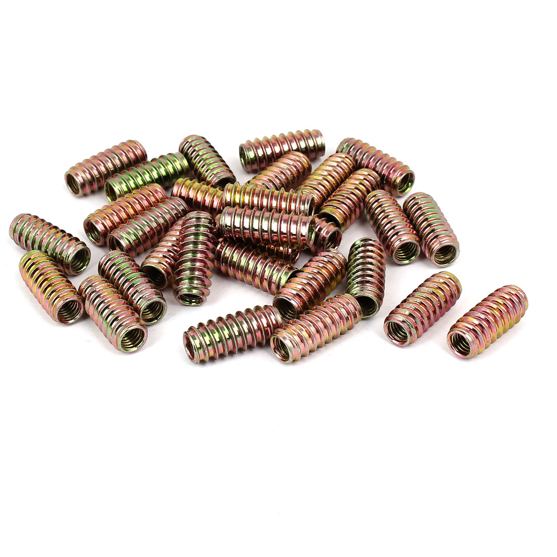 8mm x 30mm Yellow Zinc Plated E-Nut Wood Furniture Insert Nut 30PCS
