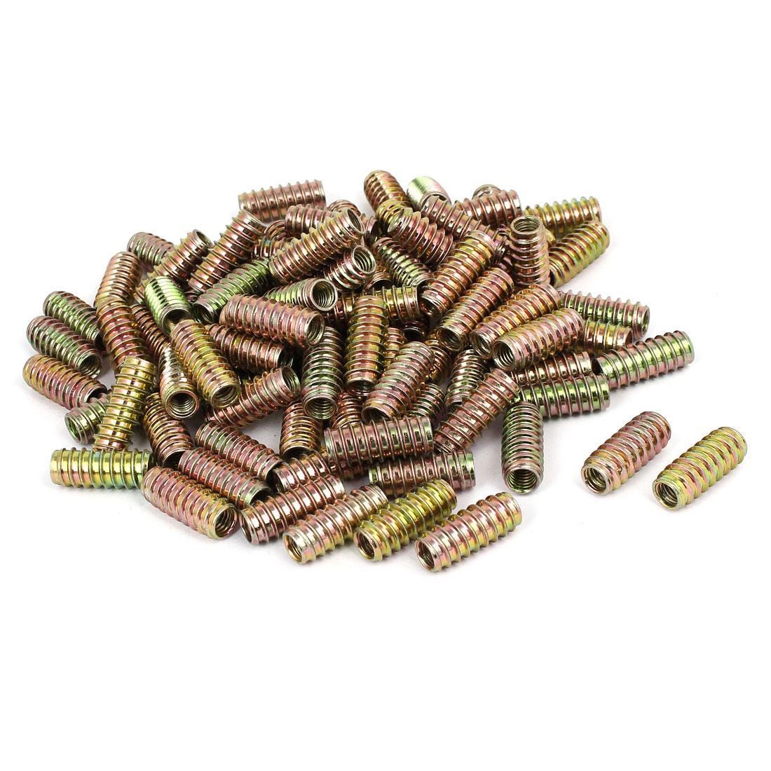 Wooden Furniture Fixing E-Nut Insert Nut Bronze Tone 8mmx30mm 100pcs