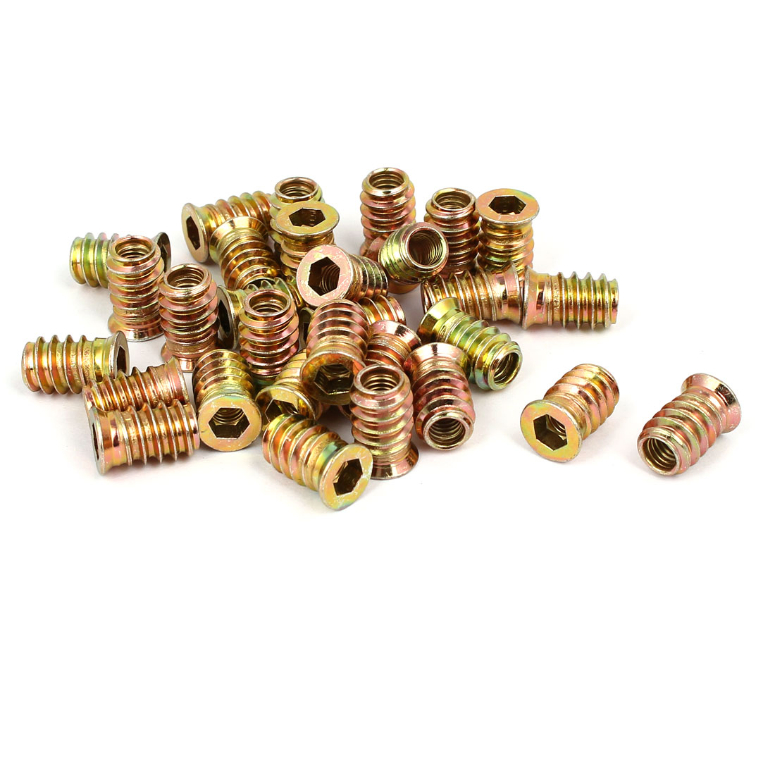 6mm x 17mm Wood Furniture Insert Interface E-Nut Hex Socket Threaded Nut 30PCS