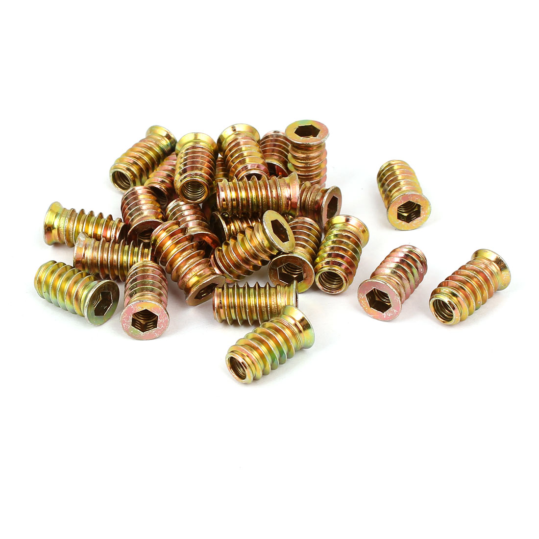 6mm x 20mm Wood Furniture Insert Interface E-Nut Hex Socket Threaded Nut 25PCS