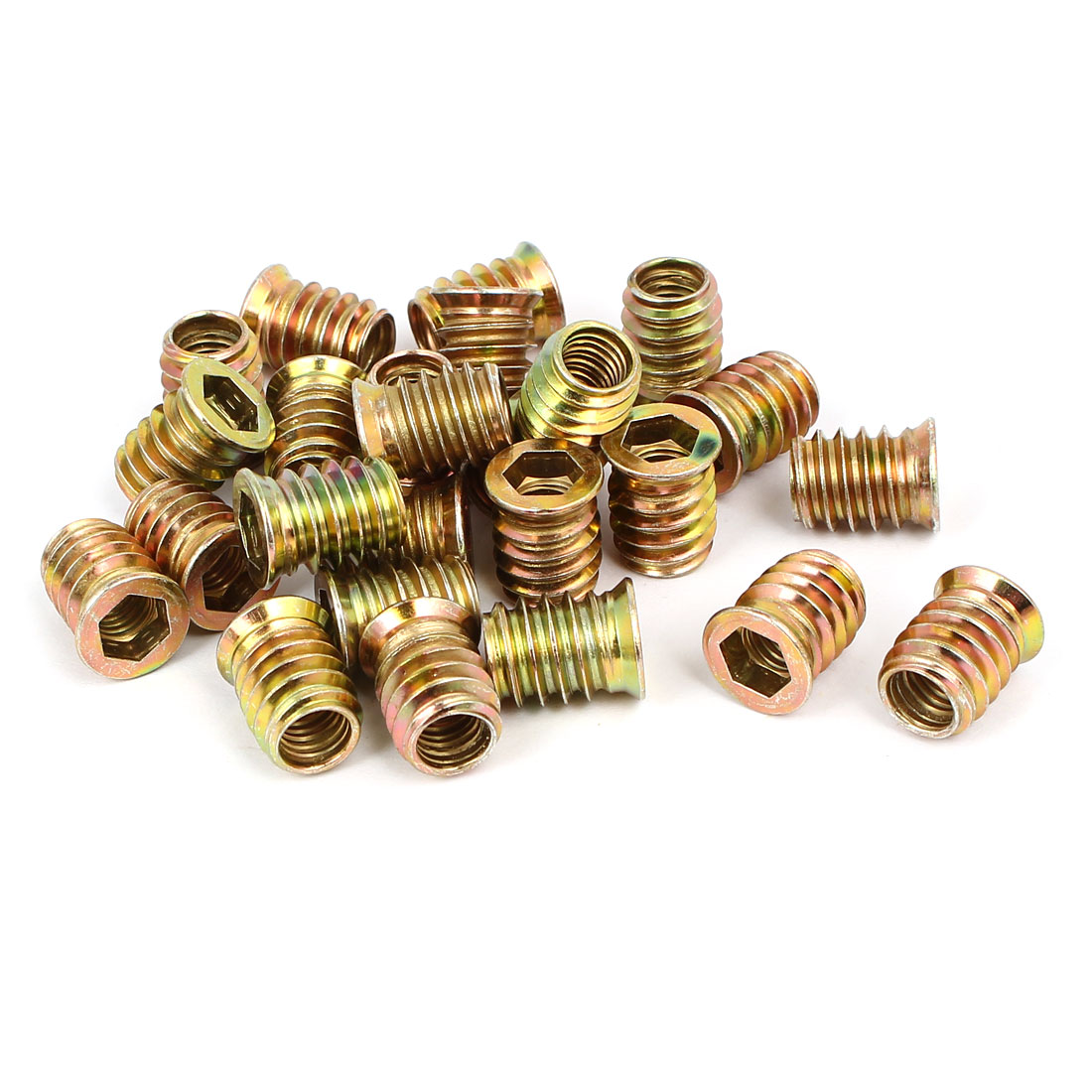 Wood Furniture Fixing Insert Interface Hex Socket E-Nut 8mmx17mm 25pcs