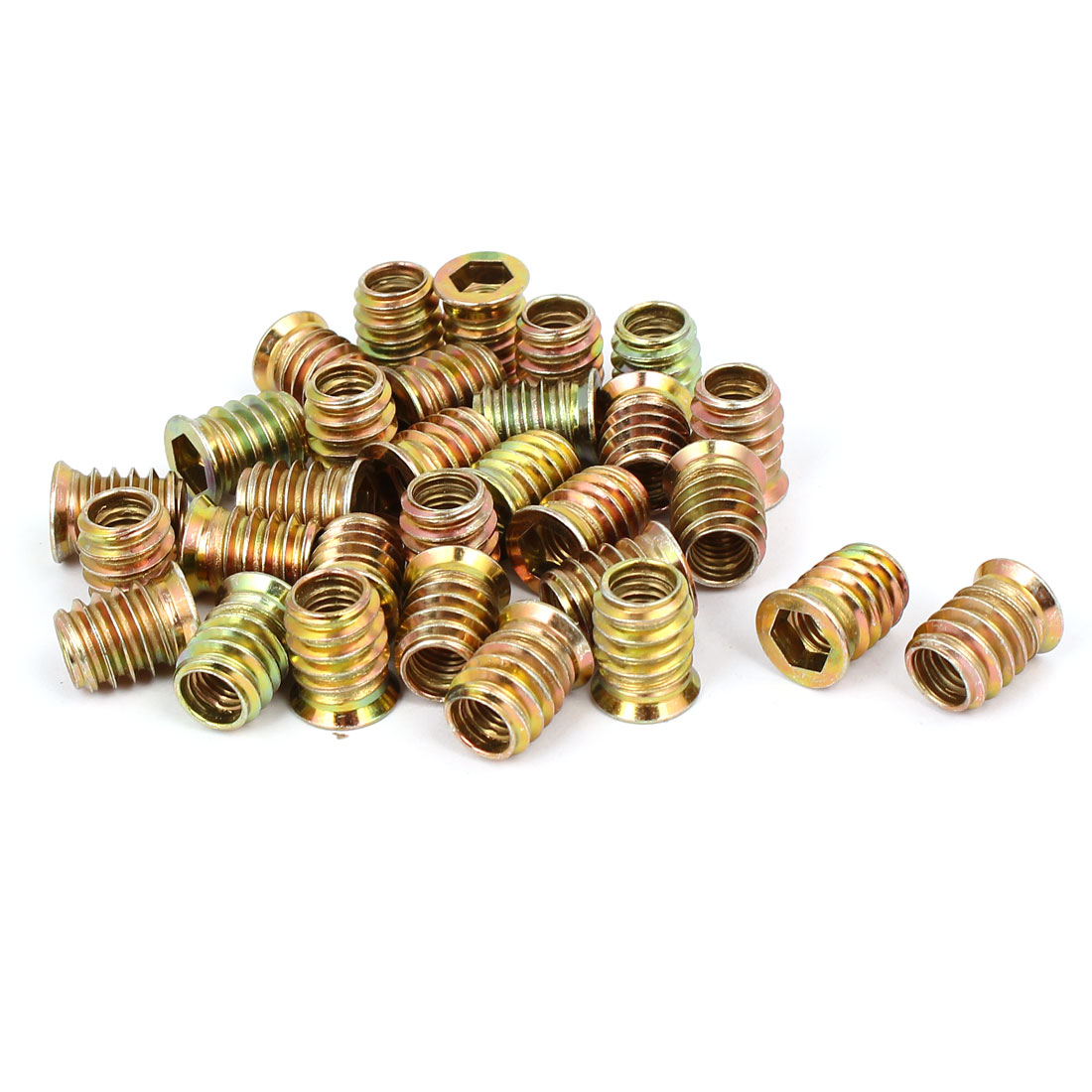 Wood Furniture Fixing Insert Interface Hex Socket E-Nut 8mmx17mm 30pcs