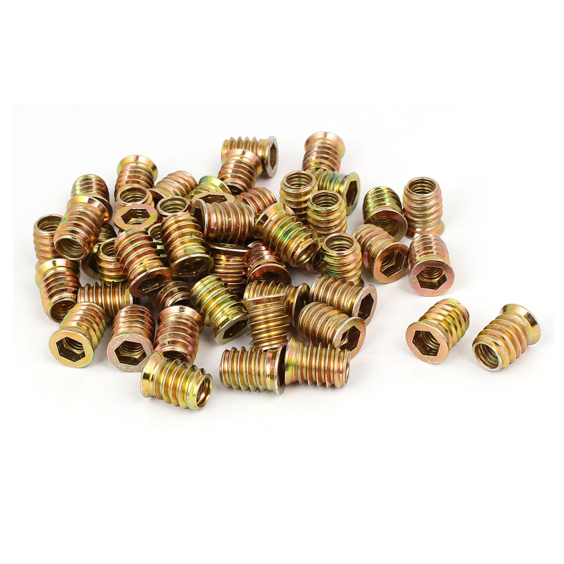 Wood Furniture Fixing Insert Interface Hex Socket E-Nut 8mmx17mm 50pcs