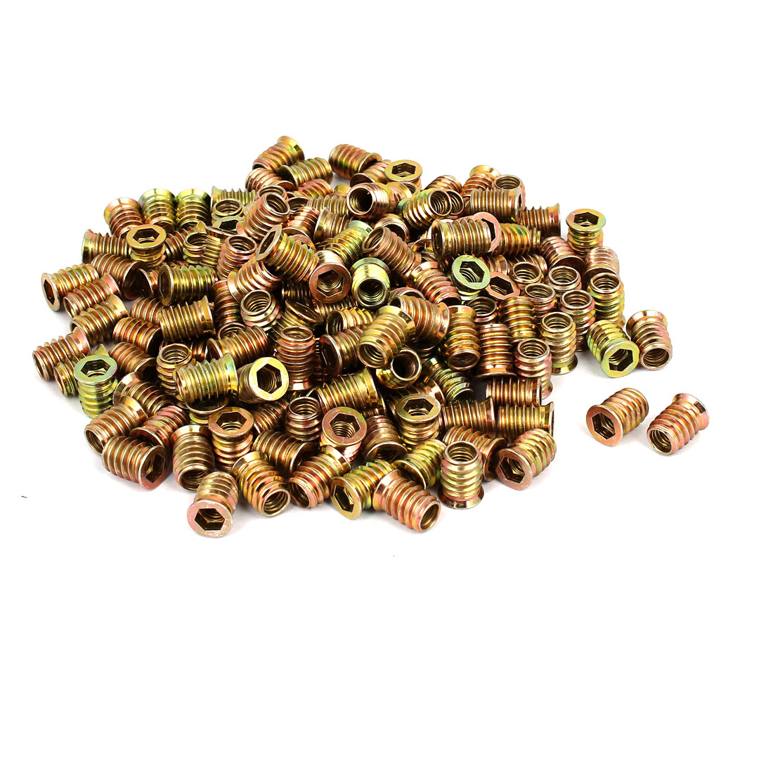 8mm x 17mm Wood Furniture Insert Interface E-Nut Hex Socket Nut Fitting 300PCS