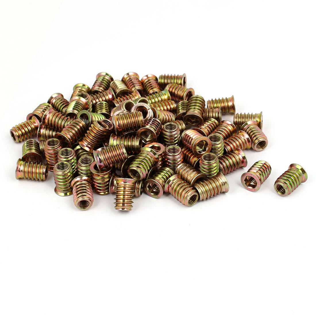 8mm x 20mm Wood Furniture Insert Interface E-Nut Hex Socket Threaded Nut 100PCS