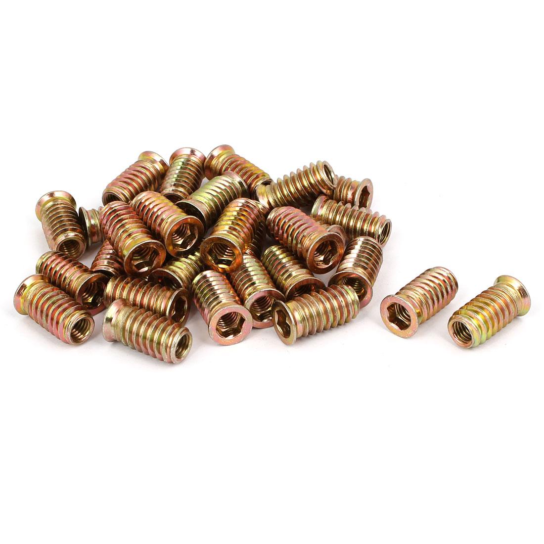 8mm x 25mm Wood Furniture Insert Interface E-Nut Hex Socket Threaded Nut 30PCS