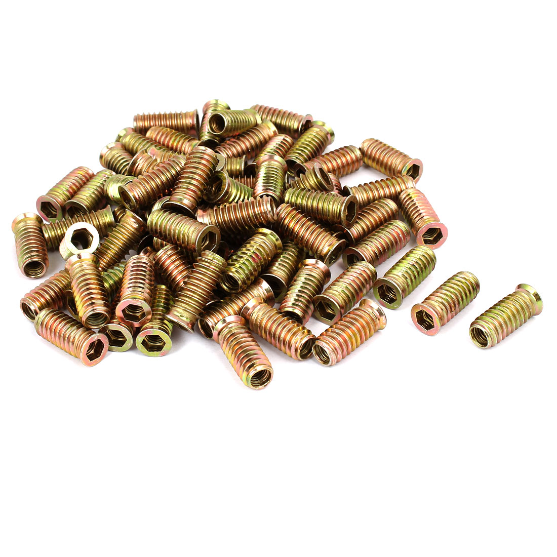 8mm x 30mm Wood Furniture Insert Interface E-Nut Hex Socket Threaded Nut 80PCS