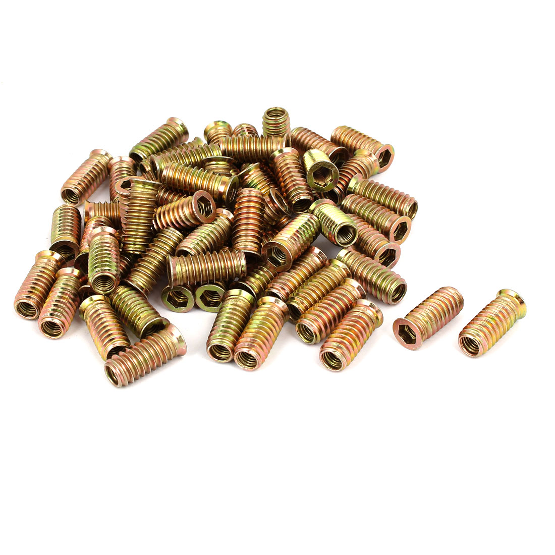 8mm x 30mm Wood Furniture Insert Interface E-Nut Hex Socket Nut Fitting 70PCS