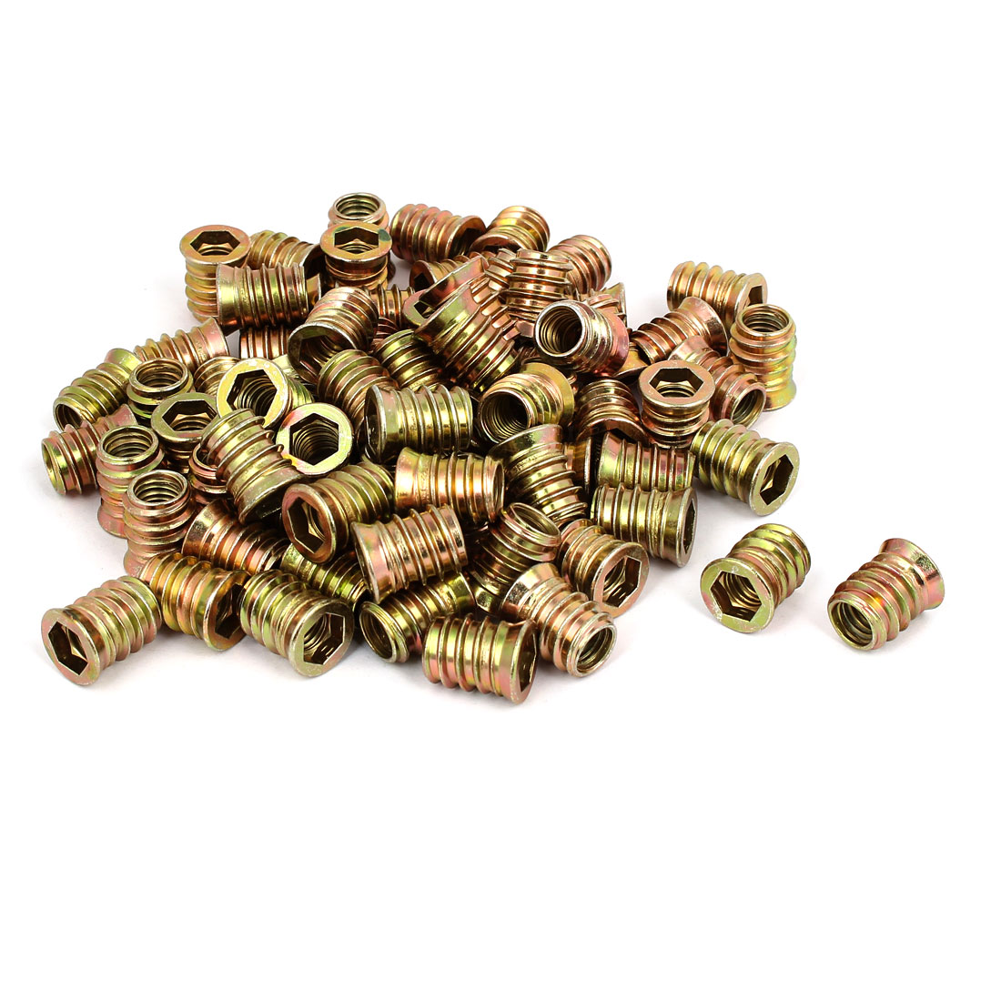 10mm x 20mm Wood Furniture Insert Interface E-Nut Hex Socket Nut Fitting 80PCS