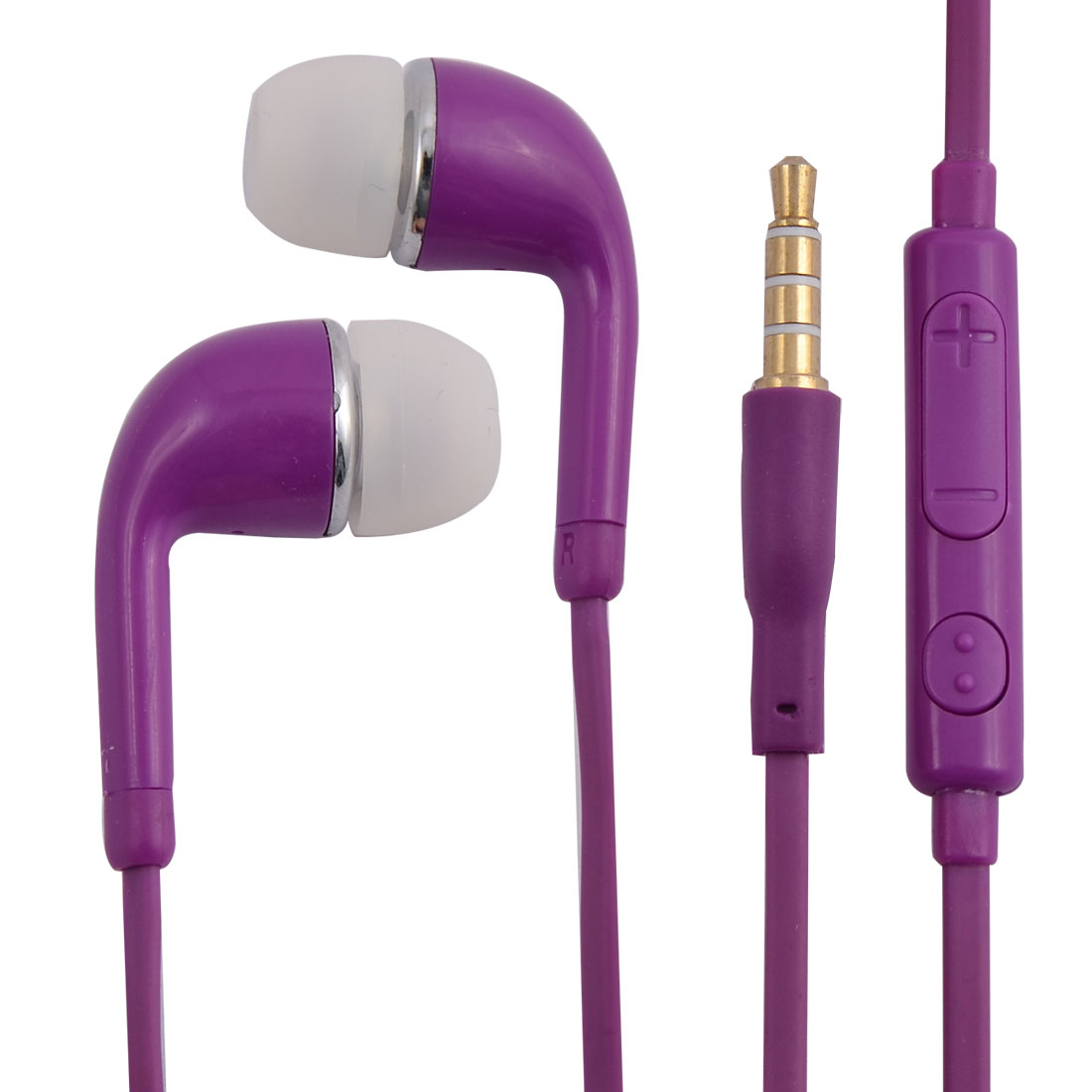 3.5mm Stereo In-Ear Earphones Headsets Earbuds Purple for Smartphone