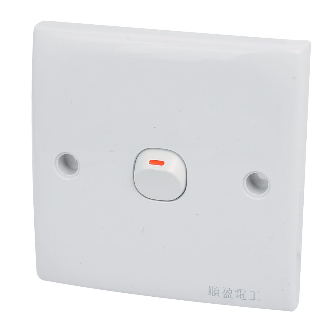 Button Light Switch Wall Plate White On/Off 250V 10A Self Locking Latching