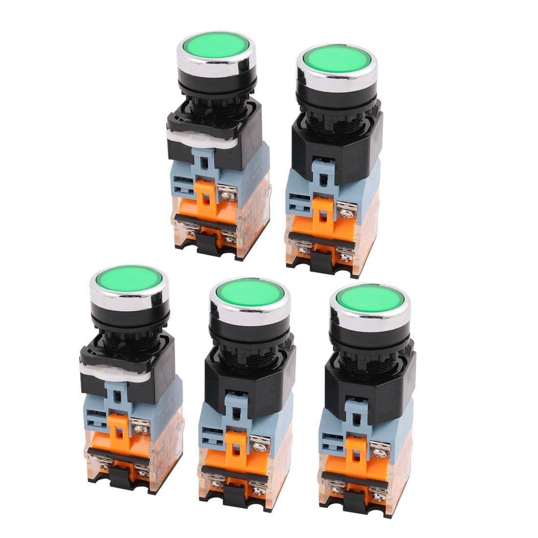 5 Pcs 1NO 1NC LED Indicator Self Locking Push Button Switch Ui 400V Ith 10A