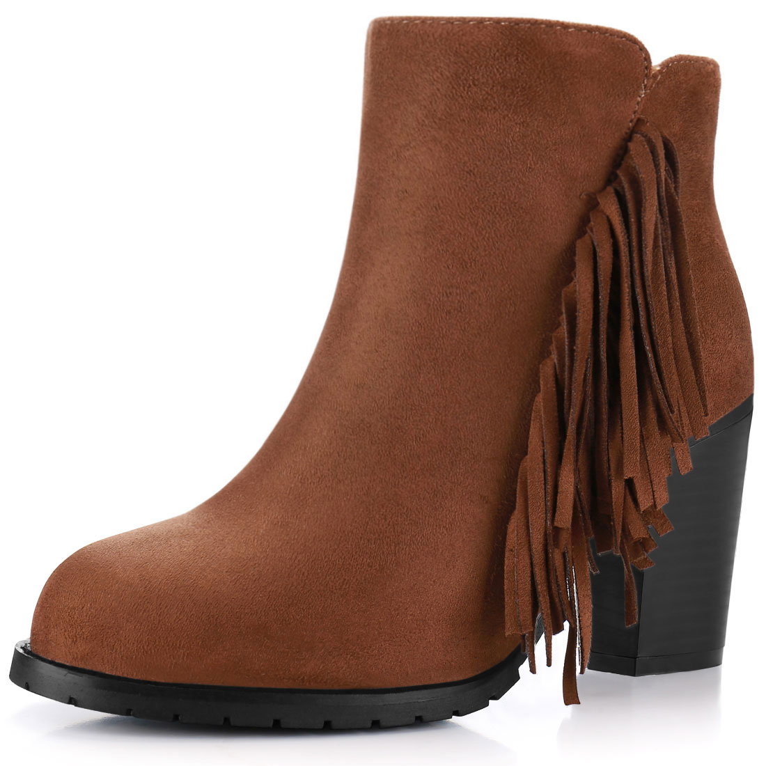 Women Fringe Trim Block High Heel Zip Side Ankle Boots Cognac US 7