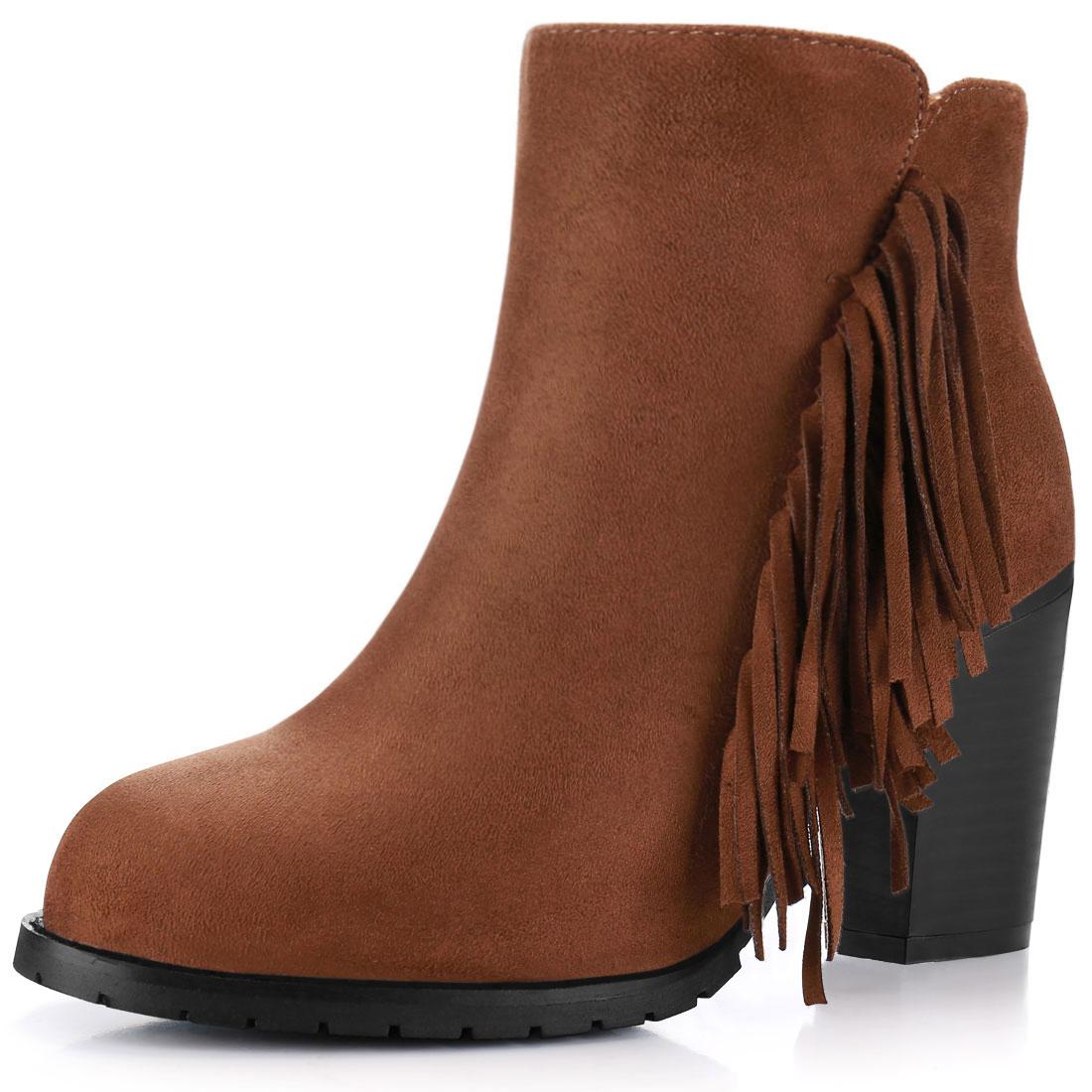 Women Fringe Trim Block High Heel Zip Side Ankle Boots Cognac US 7.5