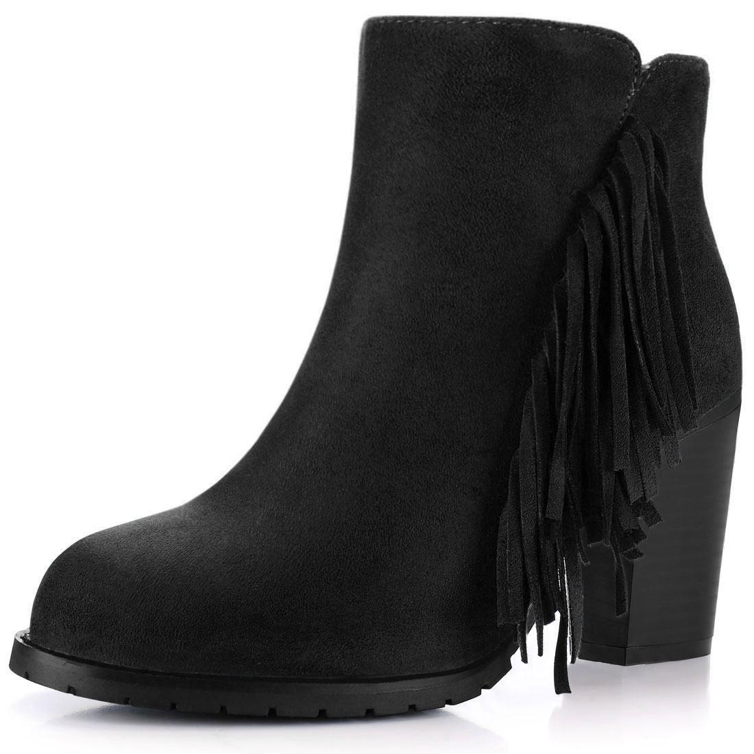 Women Fringe Trim Block High Heel Zip Side Ankle Boots Black US 7.5