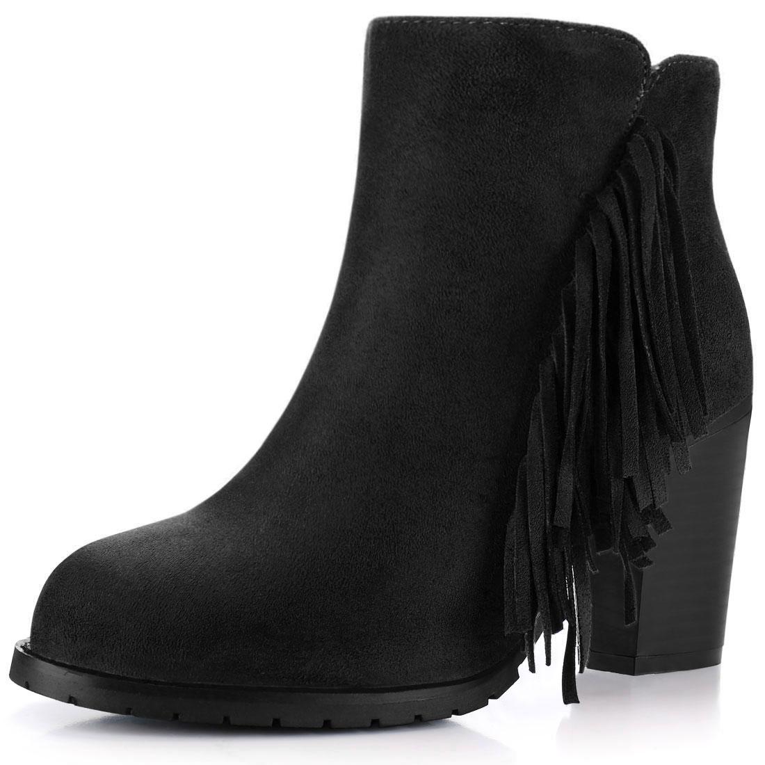 Women Fringe Trim Block High Heel Zip Side Ankle Boots Black US 7.5