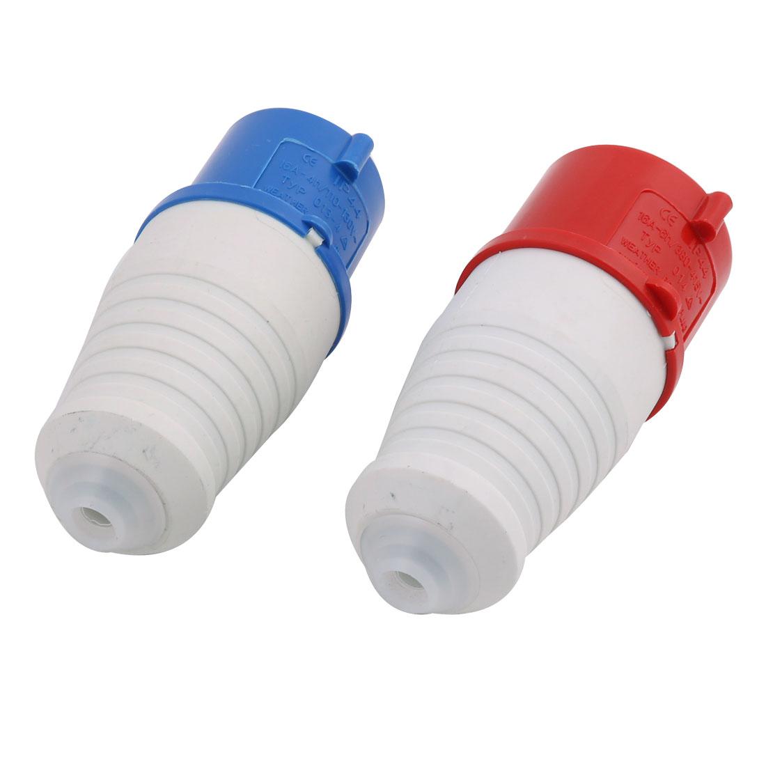 2pcs IEC309-2 3P+E 2P+E IP44 Waterproof Industrial Connector Socket Red Blue