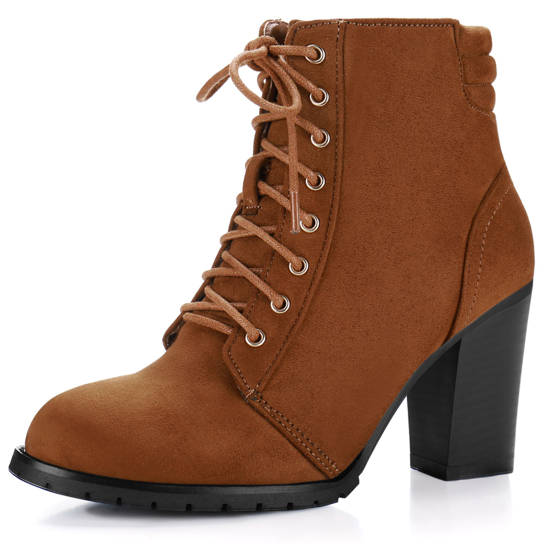 Women Round Toe Chunky Heel Quilted Back Lace Up Booties Brown US 6