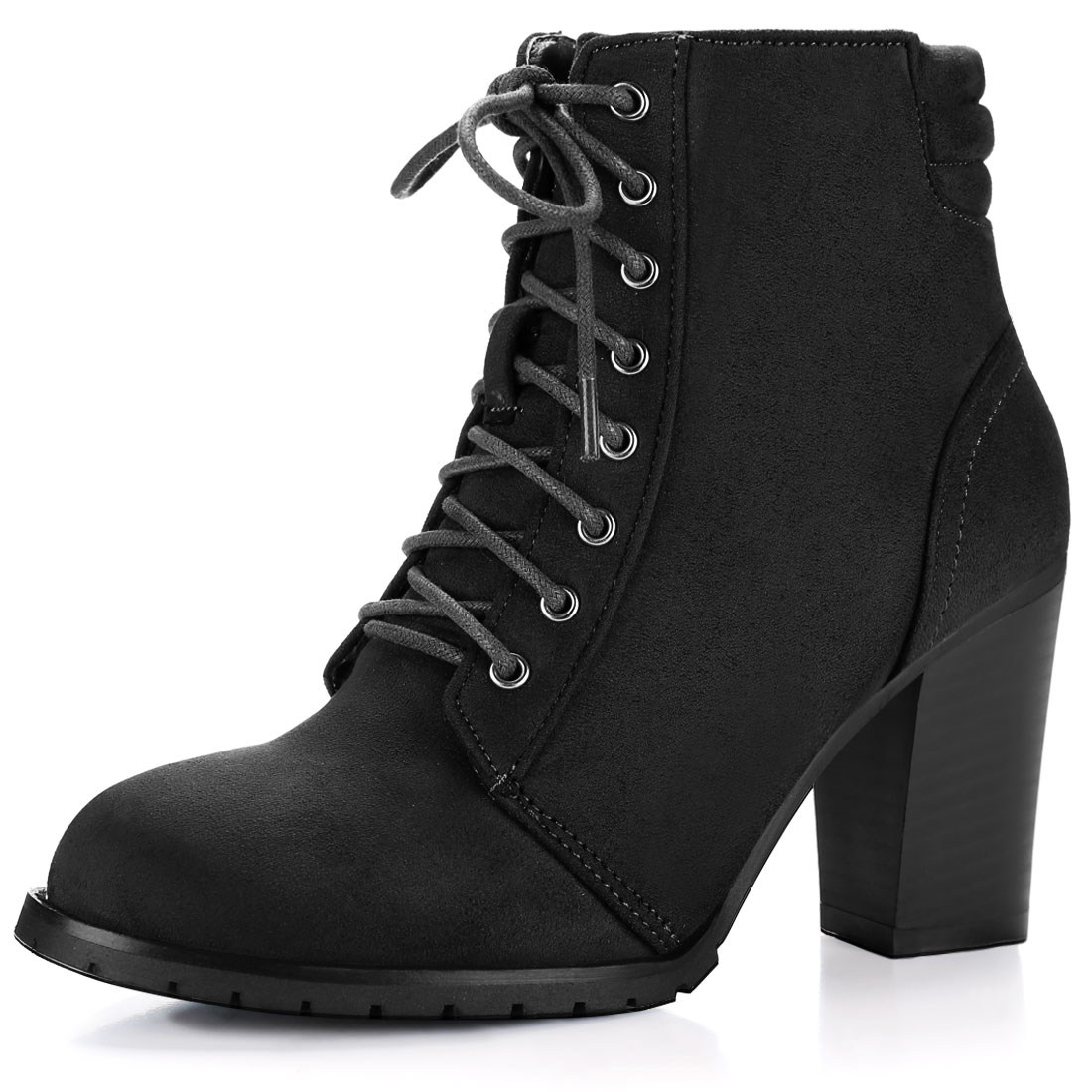 Women Round Toe Chunky Heel Quilted Back Lace Up Booties Black US 6