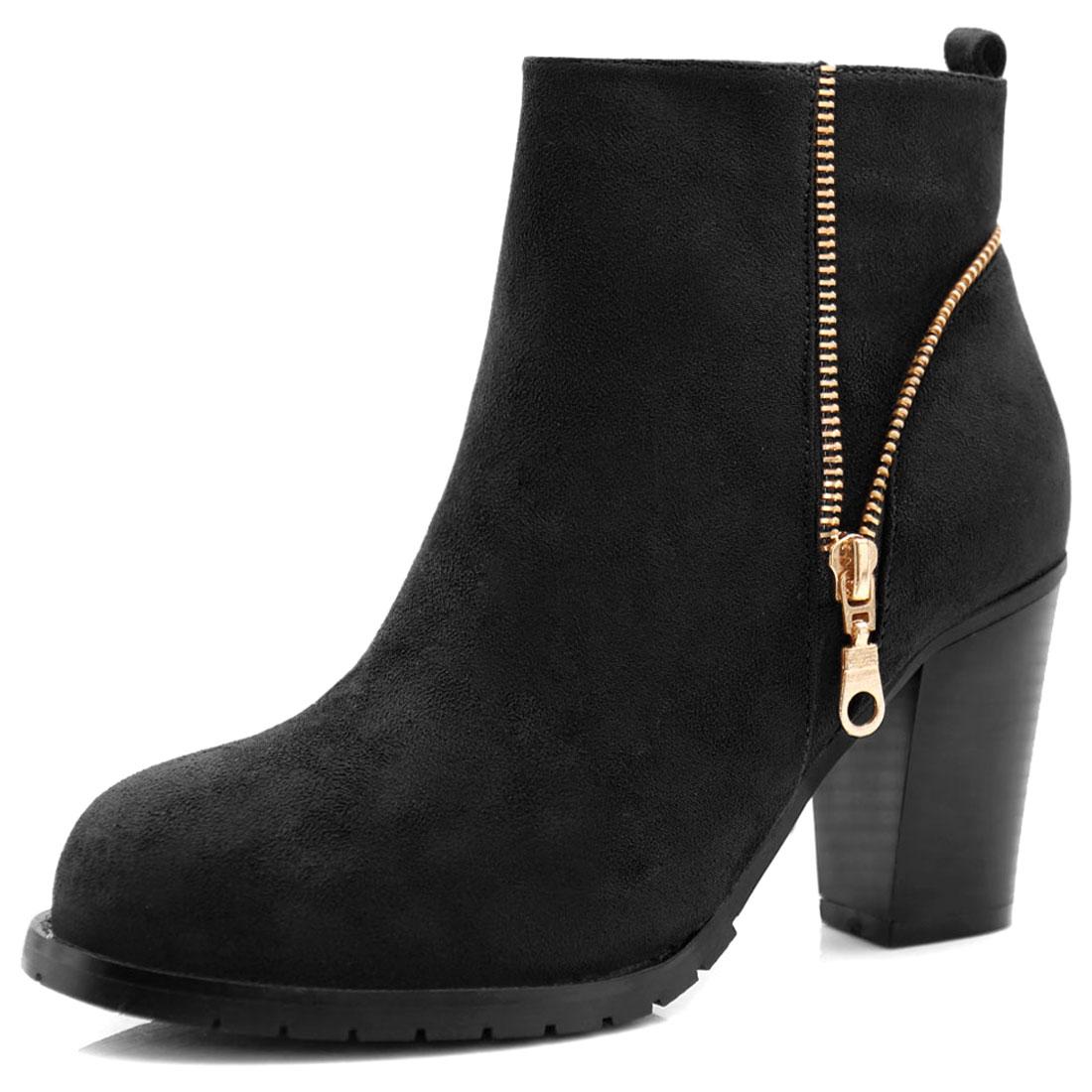 Women Round Toe Zipper Detail Block Heel Ankle Boots Black US 9