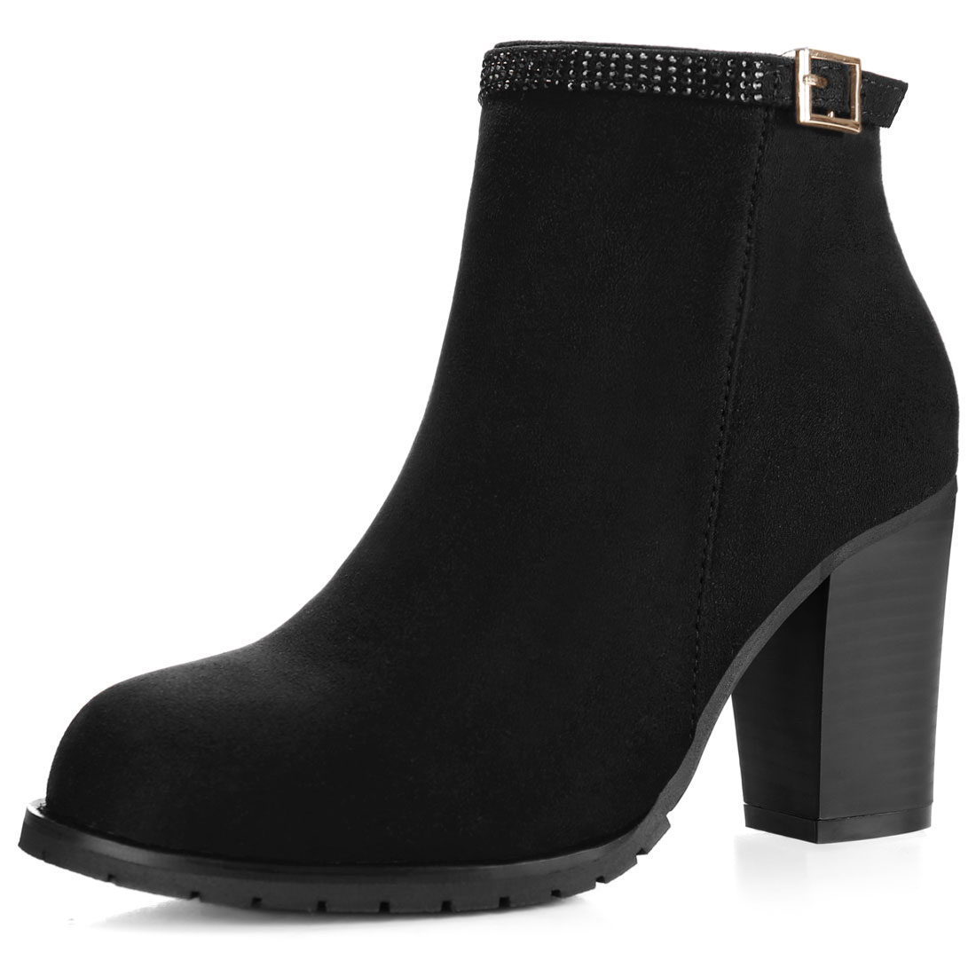 Women Rhinestone Strap Chunky High Heel Ankle Booties Black US 6