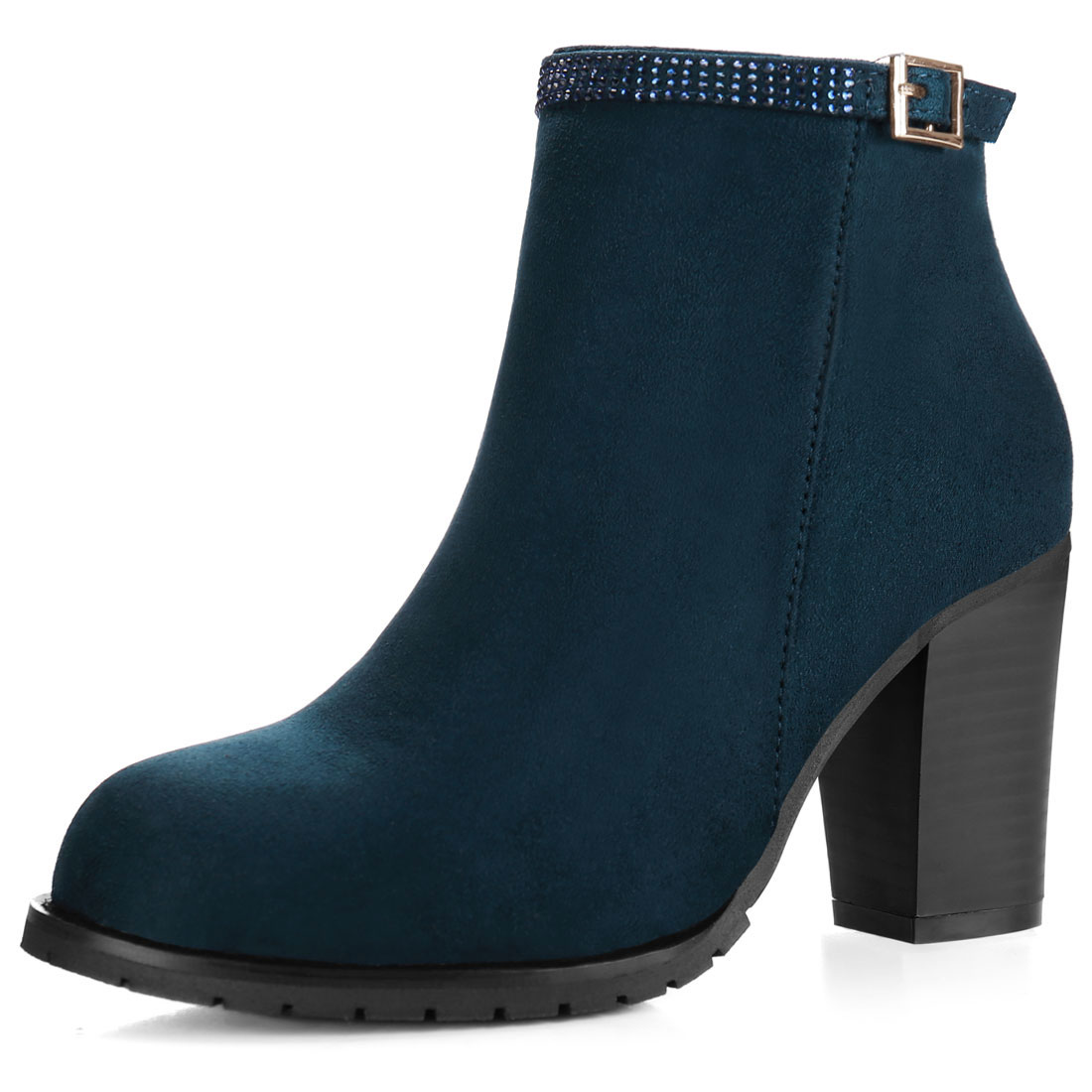 Women Rhinestone Strap Chunky High Heel Ankle Booties Blue US 7