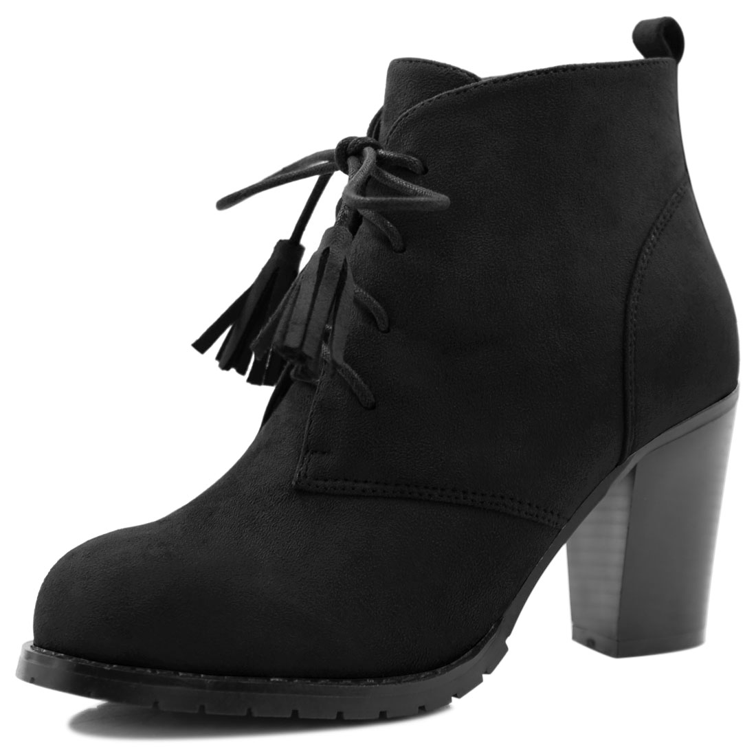 Women Rounded Toe Block Heel Tassel Lace-Up Ankle Booties Black US 7.5