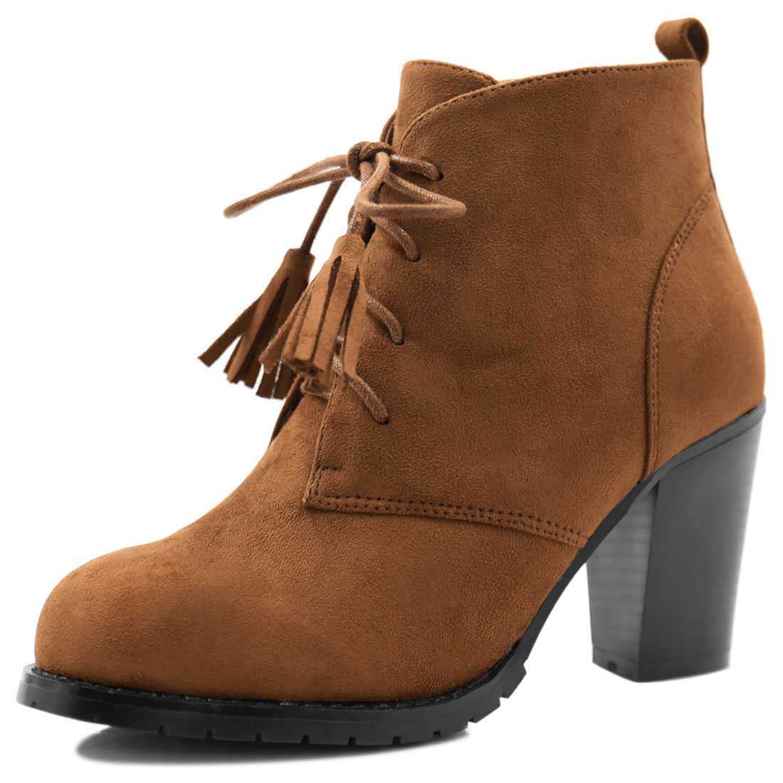 Women Rounded Toe Block Heel Tassel Lace-Up Ankle Booties Camel US 6